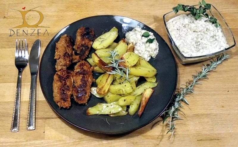 Frikadellen (Bifteki) mit Auberginen-Dip und Rosmarin-Kartoffeln